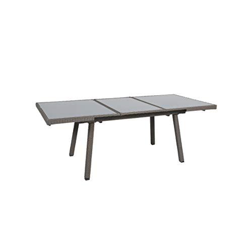 greemotion Table de jardin extensible Malmö - Table résine tressée 160 ou 220 cm – Table de jardin 8 places grise - Table extérieur métal, résine et verre trempé – Table extérieur design inoxydable