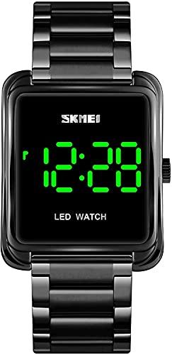 YQCH Relojes para Hombre Reloj Digital Minimalista LED de retroiluminación de Acero Inoxidable Reloj de Pulsera de Negocios (Color : Black)