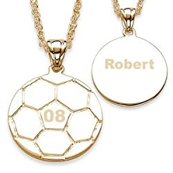 Engraved soccer necklace gift idea for soccer fans