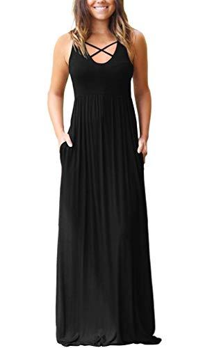 EZBELLE Women's Sleeveless Racerback Maxi Dresses with Pockets Plain Loose Casual HighWaisted Long Dresses Black X-Large