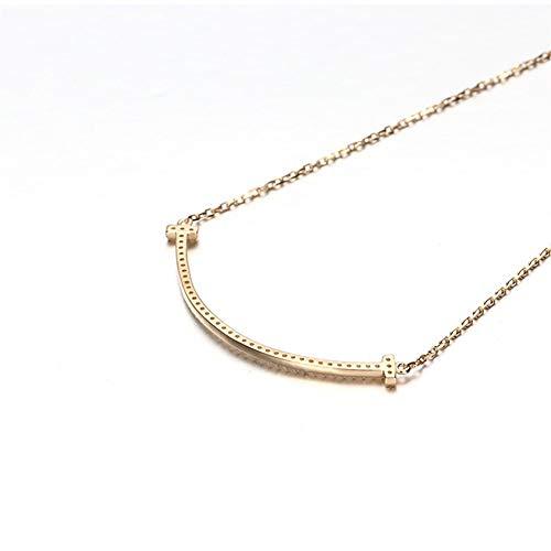 Collana in Oro Smiley Rosa di Modo della Catena della clavicola zircone Moda (Color : Golden)