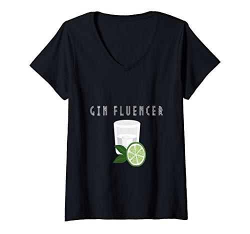 Damen Gin lover |Ginfluencer Cocktail Gin Tonic Wacholder Schnaps T-Shirt mit V-Ausschnitt