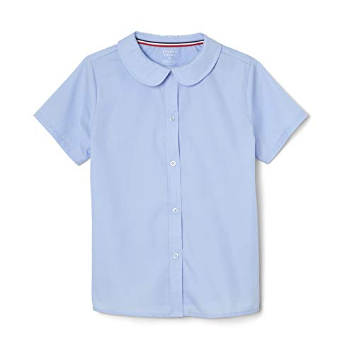French Toast Girls' Big Short Sleeve Peter Pan Collar Blouse (Standard & Plus), Light Blue, 18