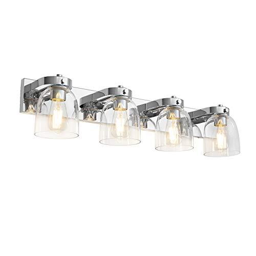 Lámpara de espejo LED moderna de cristal con 4 luces, para cuarto de baño o dormitorio, 4 x E27 portalámparas