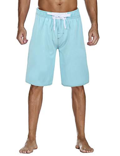 Nonwe Men's Swimsuit Quick Dry Solid Hawaiian Vacation Swim Shorts Drawsting Blue 40