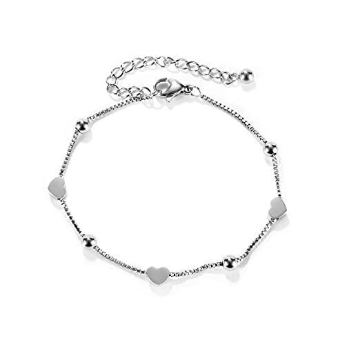 Bianlang Pulsera de Las señoras Simple Temperament Damas de Acero Inoxidable Amor Pulsera Joyería ( Color : Steel Bracelet Steel Color )