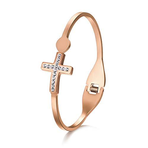 EVER FAITH Pulsera de acero inoxidable con bisagra de cristal austriaco y bisagra religiosa para regalo, color oro rosa