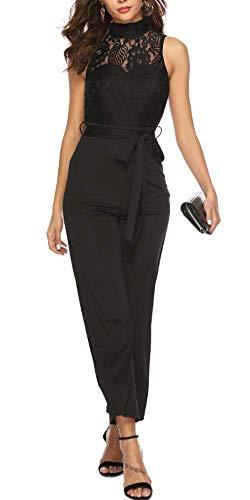 emmarcon Tuta Lunga Jumpsuit Pantaloni Straight Dritto Elegante Abito Cerimonia Donna con Pizzo Floreale -Black-IT40-42/S