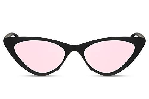 Cheapass Gafas de Sol Metálicas Ojo de Gato Gafas de Sol Negro Mate con Cristales Espejados Rosas Gafas de Sol de Diseño Moderno protección UV400 Mujeres