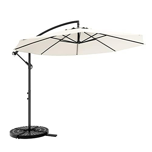 JIESD-Z 3,5 m parasol na płozach, na zewnątrz wodoodporny składany parasol na patio regulowany kąt nachylenia szeroki metalowy stelaż stojak duży parasol przeciwsłoneczny na podwórko, plażę, basen, rynek, ogród, taras