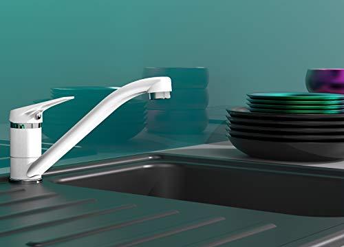 EISL Spültischarmatur SPEED, 360° schwenkbare Küchenarmatur, ideal auch für Doppelspülbecken, platzsparender Wasserhahn Küche, Einhebelmischer Weiß, NI182SCR-W