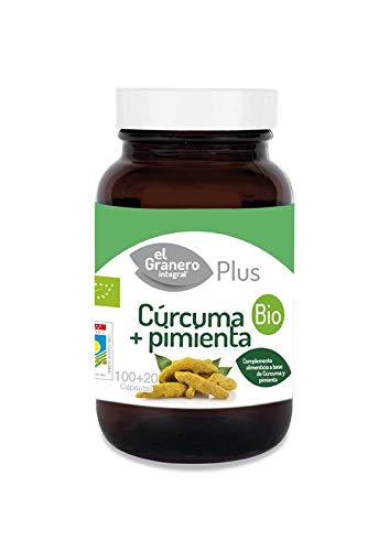 Cúrcuma y Pimienta Bio El Granero Integral 100 + 20 Cápsul