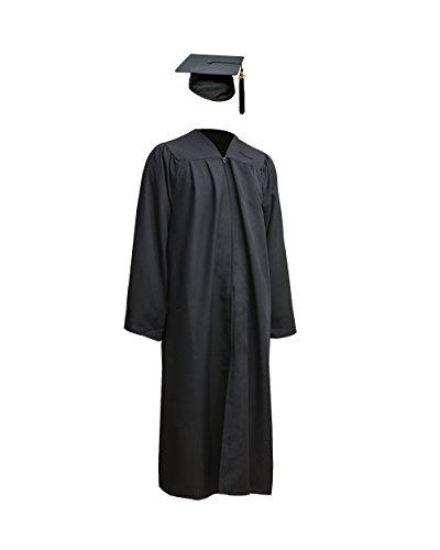 Robe Academicus Komplett-Set: akademischer Talar aus Funktionsfaser + Doktorhut mit Quaste und aktueller (!) Jahrgangszahl (M Medium (166-175 cm), Schwarz)