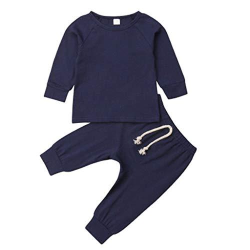 YWLINK BebéS ReciéN Nacidos NiñA NiñO Mono Conjunto Mezcla De AlgodóN Camisa De Manga Larga+Pantalones Medias Leggings Moda Casual Bautismo De Bebe Primer Regalo De CumpleañOs(Azul,12-18 meses/90)