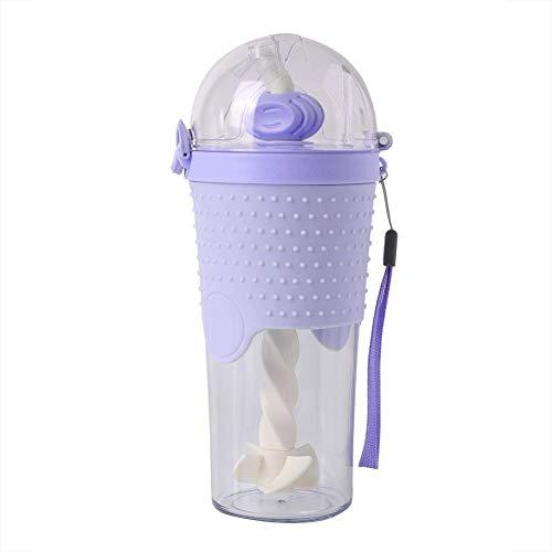 Water Drinkfles Mengen Aanraken Rietbeker (Paars), Modieuze Water Drinkfles Mengen Roeren Rietbeker voor Thuiskantoor School (Paars)