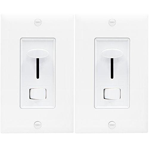 ENERLITES Decorator Slide Dimmer Switch, Adjustable Light Wheel, On/Off Rocker, Single-Pole or 3-Way, Dimmable 150W LED/CFL, 700W Incandescent and Halogen, ETL Listed, 59302-W, White, 2 Pack