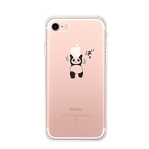 CrazyLemon para iPhone 5S 5 / iPhone SE 1 generación Funda, Gel de Silicona Ultra Funda Blanda Creativa de TPU Funda Resistente a los arañazos para iPhone 5S 5 SE - Panda de Levantamiento de Pesas