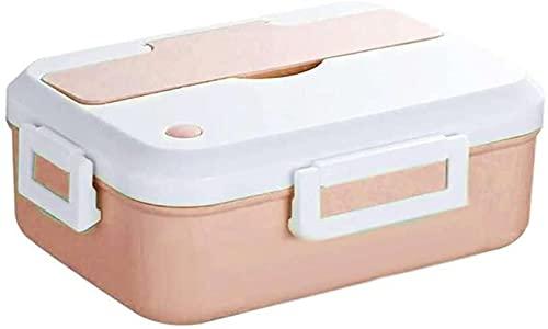 YQZX Horno de microondas, Caja de Almuerzo, Contenedor de Alimentos, Estudiante, Oficina, Bento, Calentado, Limpieza, con Cubiertos,Pink