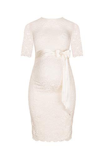 Herzmutter Umstands-Spitzen-Kleid - Elegantes-knielanges-Schwangerschafts-Kleid - für Festliche Anlässe-Hochzeit-Feier - Mit Spitze - Creme-Weiß-Champagner-Blau-Rot-Rosé - 6200 (Creme-Weiß, M)