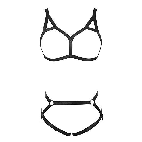 JELINDA Women Harness Bra Elastic Band Lingerie Cupless Cage Bra See Through Hollow Out Harness (140 Black)