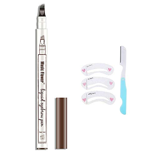 HSEE Eyebrow Tattoo Pen - Microblading Eyebrow Pen - Waterproof Eyebrow Pencil, Creates Natural Looking Eyebrows Effortlessly and Stays on All Day, Chestnut, 1 Count