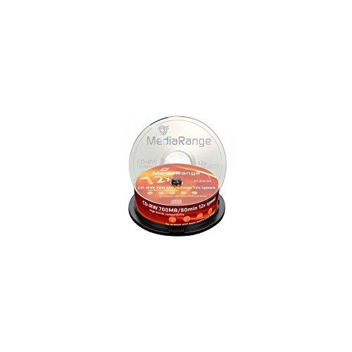 MediaRange MR235– Lot de25CD-RW Vierges de 700Mo Dessus Blanc (CD-RW, 700Mo, 25pièces, 120mm, 12x, boîte pour Pastel)