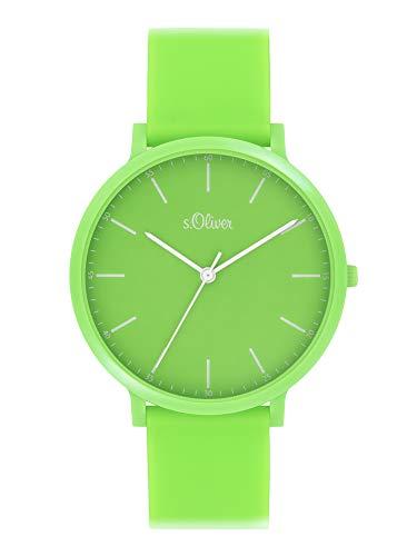 s.Oliver Unisex Analog Quarz Uhr mit Silicone Armband SO-4070-PQ