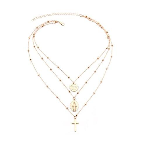 PAOLIAN Collares para Mujer Simple Collares Colgante collar de plata larga de varias capas con los collares de Cruz Pendientes para collares Colgantes y monedas preciosas (Oro)