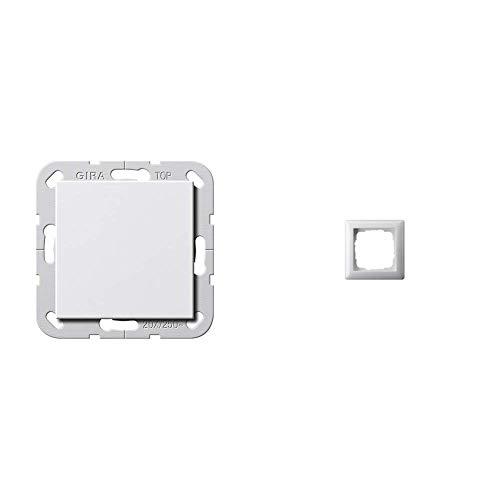 Gira 283603 Wippschalter aus 20 A System 55, reinweiß & 021103 Rahmen 1-fach ST55, reinweiß-glänzend