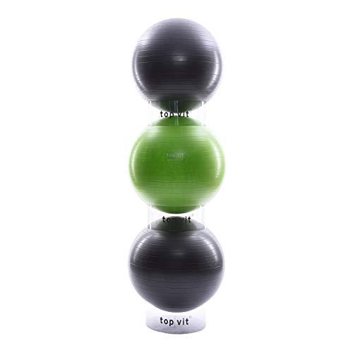 top vit Stapelhilfe für Gymnastikbälle I DREI transparente Stapelringe zur platzsparenden Aufbewahrung von 3 Fitnessbällen I Durchmesser 39 cm I 3er Set