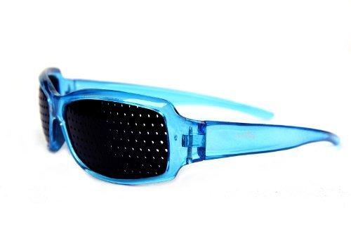 FreshGadgetz 1 Set di Occhiali Foro stenopeico nero rosso blu marrone miglioramento vista (Blue)