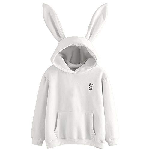 Glomixs - Sudadera con Capucha para Mujer, Manga Larga, diseño de Orejas de Conejo, Blanco, X-Large