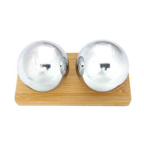 Top Chi Chrome Baoding Balls with Bamboo Stand. Chiming Chinese Health Balls for Hand Therapy, Exercise, and Stress Relief (Large 1.9 Inch)