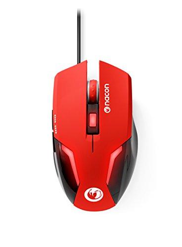 Nacon GM-105 - Ratón Gaming (óptico, USB, 2400 dpi, 6 Botones, USB Plug and Play) Rojo