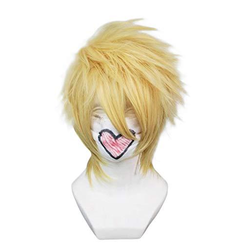Anogol Hair Cap Blonde Light Golden Anime Cosplay Short Hair Wig Party