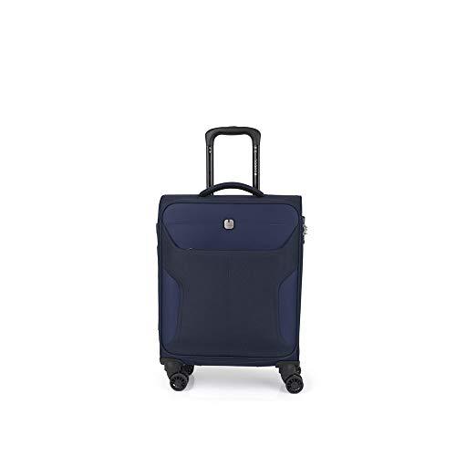 Gabol - Nordic | Maleta de Cabina con Cargador de Tela de 40 x 55 x 20 cm con Capacidad para 35 L de Color Azul