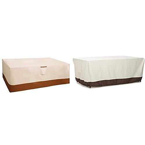SONGMICS 600D Oxford Funda Protectora para Muebles de jardín, 240 x 140 x 90 cm, para Mesas y Sillas de Patio + AmazonBasics - Funda Protectora para Mesa de Comedor (180cm)