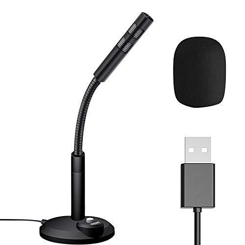 IWILCS - Microfono da scrivania con supporto USB, microfono da tavolo, volume regolabile, alta qualità del suono, con interruttore per Windows 7/8/10 Mac e PC