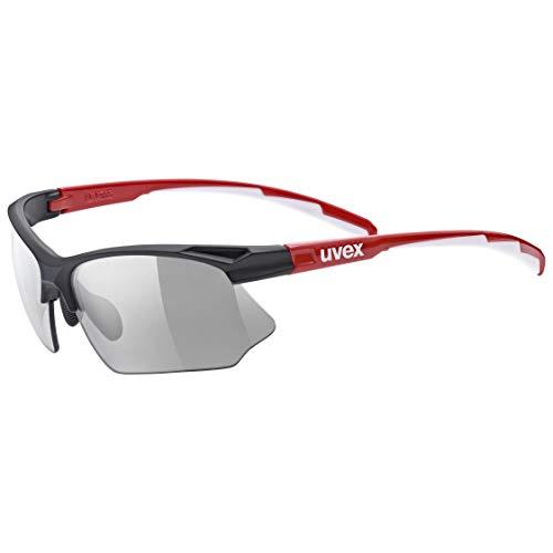uvex Unisex– Erwachsene, sportstyle 802 V Sportbrille, selbsttönend, black red/smoke, one size