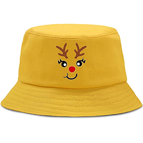 BOIPEEI Bonito Sombrero de Hombre con Estampado navideño de Cervatillo, Harajuku, Pesca, Mujer, Funisex, Moda, Mujer, Sombreros de Panamá