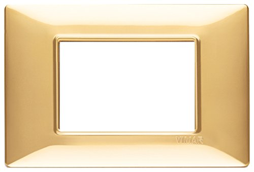 Vimar 14653.24 Plana Placca 3 Moduli in Tecnopolimero, Oro Lucido