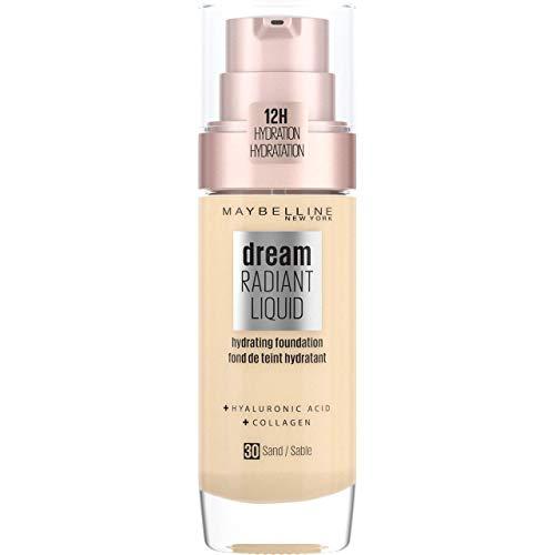 Maybelline New York Dream Radiant Liquid Make-up - flüssige Foundation mit Hyaluronsäure und Kollagen, Feuchtigkeitsspendend, mittlere Deckkraft, seidiges Finish, Nr. 30 Sand, 30 ml