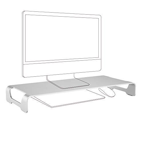 ZOLDA Aluminium Monitorständer - Premium Metall Computer-Erhöhung für iMac, MacBook & andere Monitore. Schlankes und minimalistisches Design mit Platz für Tastatur und Maus (Silber)