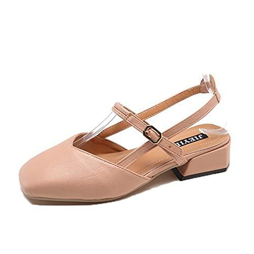 Sandalias para mujer Zapatos de verano al aire libre con punta estrecha cuadrada Slingback Retro Playa Ocio Zapatos de playa Bloque de trabajo Sandalias de tacón bajo