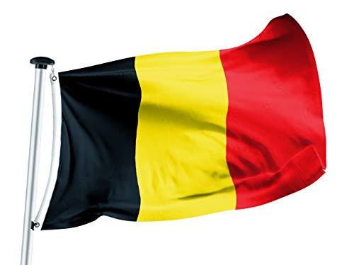 FLAGLY Premium Fahnen & Flaggen 100 x 150 cm -160g/m² Stoffgewicht - handgefertigt, Robustes und witterungsbeständiges Schiffsflaggentuch mit Ösen, Nationalfahnen (100 x 150 cm, Belgien)