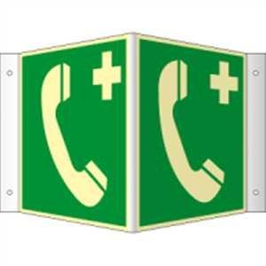 Winkelschild, Nasenschild Notruftelefon HIGHLIGHT PVC 20 x 20cm mit 4 Bohrungen à 3 mm Ø Leuchtdichte: HIGHLIGHT 48 mcd/m²