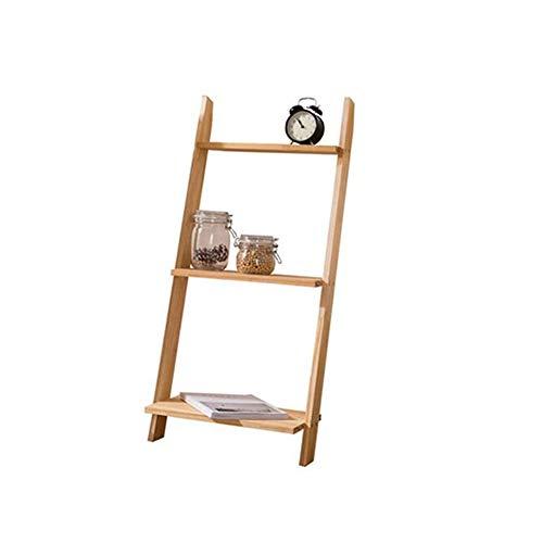 JCNFA Planken Industriële Ladder Plank, 3/5-Tier Boekenplank, Opslag Rekschap, Voor Woonkamer, Keuken, Kantoor, Sloping, leunend tegen de Muur, hout