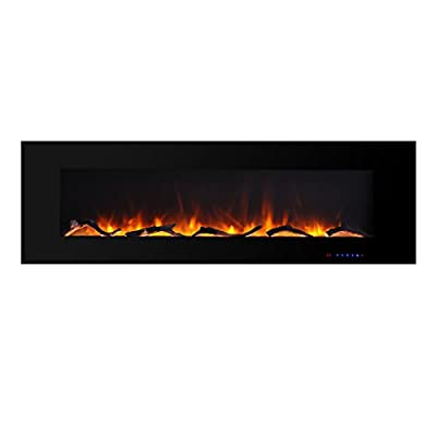 Valuxhome Electric Fireplace, 60 Inches Wall Mounted Fireplace with Overheating Protection, Thermostat, Timer & Remote, Log & Crystal, Touch Screen, 1500/750W, Black