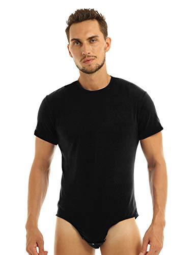 Yeahdor Herren Body Einteiler Overall Kurzarm Unterhemd Schlafbody Poloshirt Shirt mit Kragen/Kapuze Sportbody mit Knöpfen im Schritt Unterwäsche Schwarz A Large