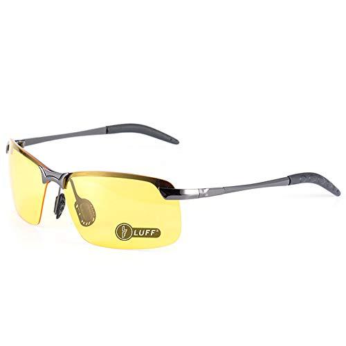 LUFF Gafas de visión nocturna hombres/mujeres con conducción segura, Gafas retro antideslumbrantes con gafas polarizadas HD (Classic gray)